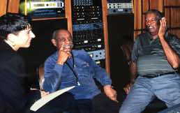 Benny Carter, sax great with Ray Brown, bass legend at Conway Studios, LA 1996