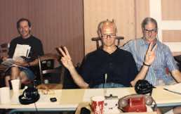 James Mallinson, producer, Robert Woods, producer, Jack Renner, recording engineer in Gramat, France recording Robert Shaw Vespers 1987